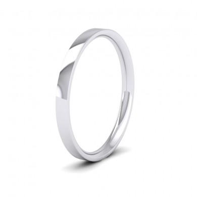 500 Palladium 2mm Flat Shape (Comfort Fit) Classic Weight Wedding Ring