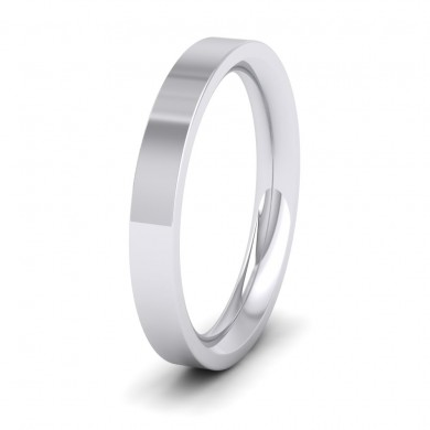 500 Palladium 3mm Flat Shape (Comfort Fit) Super Heavy Weight Wedding Ring