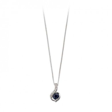 9ct White Gold Pendant Set With Blue Sapphire And Diamond