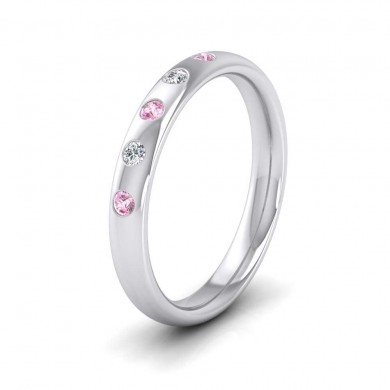 9ct White Gold 3mm Court Shape Five Stone Pink Sapphire Diamond Wedding Ring