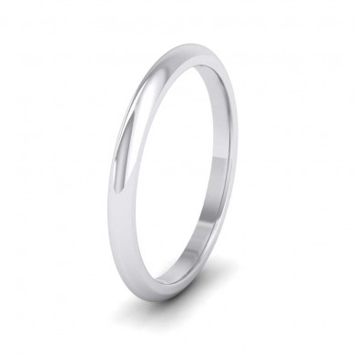 9ct White Gold 2mm 'D' Shape Extra Heavy Weight Wedding Ring