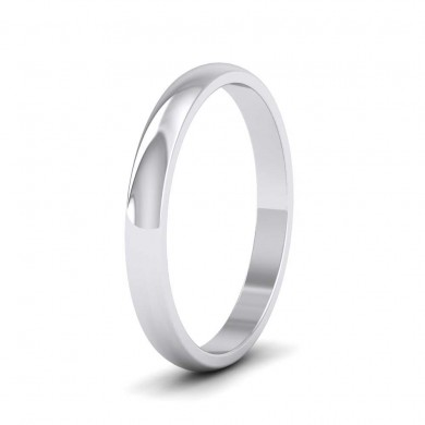9ct White Gold 2.5mm 'D' Shape Classic Weight Wedding Ring