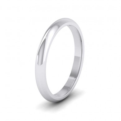 9ct White Gold 2.5mm 'D' Shape Extra Heavy Weight Wedding Ring