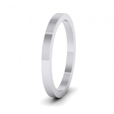 9ct White Gold 2mm Flat Shape Super Heavy Weight Wedding Ring