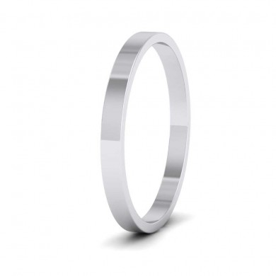 9ct White Gold 2mm Flat Shape Classic Weight Wedding Ring