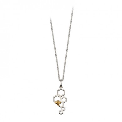 Sterling Silver Honeycomb And Bee Pendant With Yellow Gold Plated Accent.