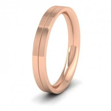 18ct Rose Gold 3mm Wedding Ring With Line