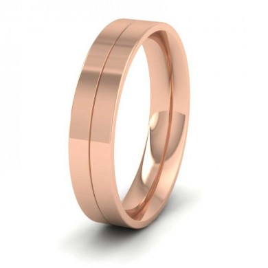 18ct Rose Gold 5mm Wedding Ring With Line