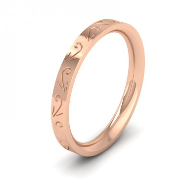 Engraved Flat 9ct Rose Gold 2.5mm Wedding Ring