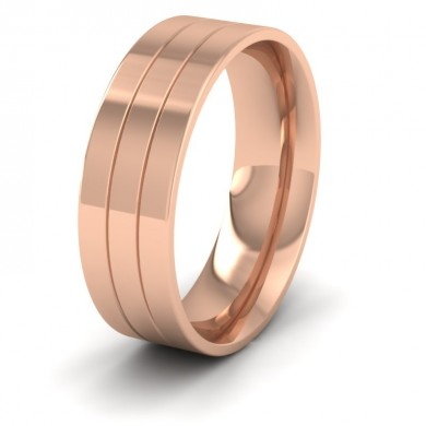 18ct Rose Gold 7mm Wedding Ring With Lines