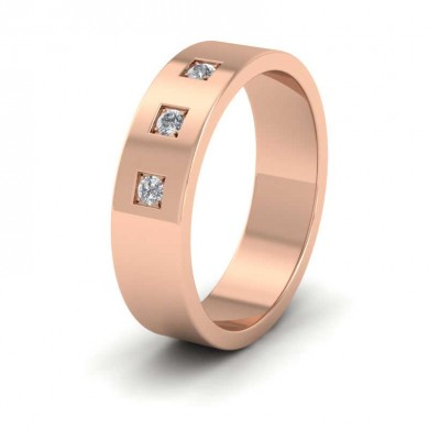 Three Diamonds With Square Setting 18ct Rose Gold 6mm Wedding Ring