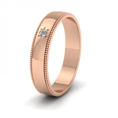 Millgrained Edge And Single Star Diamond Set 9ct Rose Gold 4mm Wedding Ring
