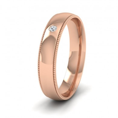 Single Flush Diamond Set And Millgrain Edge 18ct Rose Gold 4mm Wedding Ring