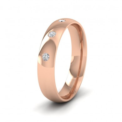Three Diamond Flush Set 9ct Rose Gold 4mm Wedding Ring
