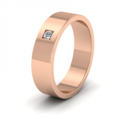 Single Diamond With Square Setting 18ct Rose Gold 6mm Wedding Ring