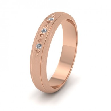 Three Diamond Set 9ct Rose Gold 4mm Wedding Ring With Lines