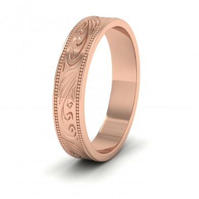 Engraved 9ct Rose Gold 4mm Flat Wedding Ring With Millgrain Edge