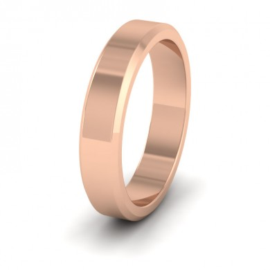 Bevelled Edge 18ct Rose Gold 4mm Wedding Ring