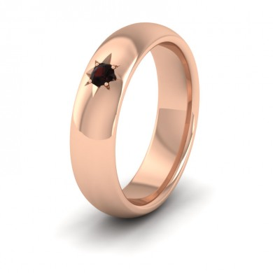 Garnet Star Set 9ct Rose Gold 6mm Wedding Ring