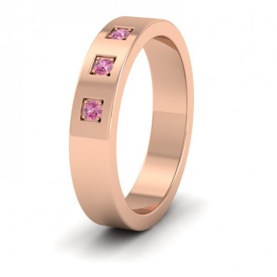 Three Pink Sapphires With Square Setting 9ct Rose Gold 4mm Wedding Ring