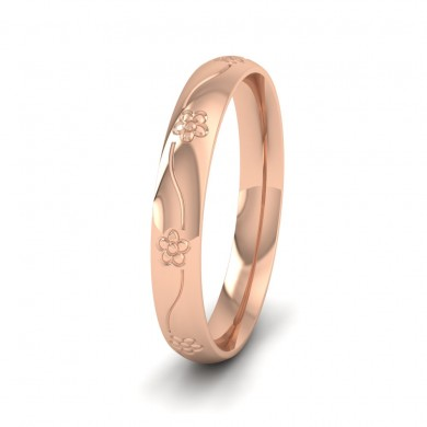 Engraved Flower 9ct Rose Gold 3mm Wedding Ring