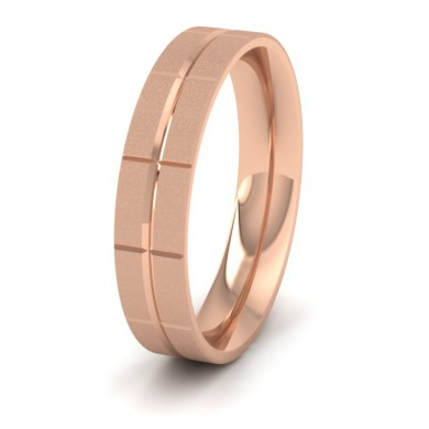 Cross Line Patterned 18ct Rose Gold 5mm Flat Comfort Fit Wedding Ring