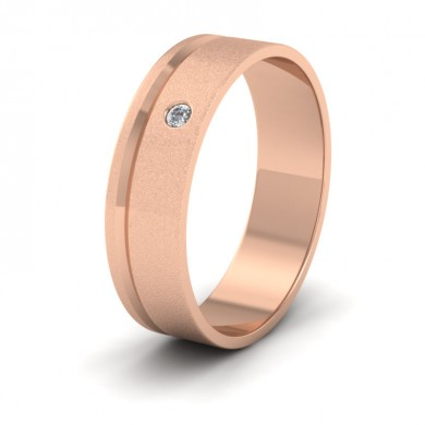 Diamond Set And Assymetric Line Patterned 18ct Rose Gold 6mm Wedding Ring