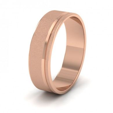 Assymetric Line Pattern 18ct Rose Gold 6mm Flat Wedding Ring