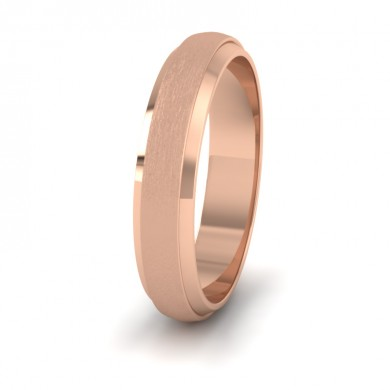 Flat Edge Patterned And Matt Finish 18ct Rose Gold 4mm Wedding Ring