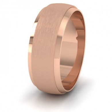 Flat Edge Patterned And Matt Finish 9ct Rose Gold 8mm Wedding Ring
