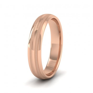 Four Line Pattern With Shiny And Matt Finish 9ct Rose Gold 4mm Wedding Ring