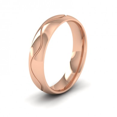 Wave Patterned 18ct Rose Gold 5mm Wedding Ring