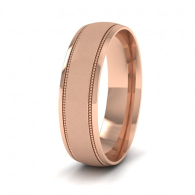 Millgrain And Contrasting Matt And Shiny Finish 9ct Rose Gold 6mm Wedding Ring