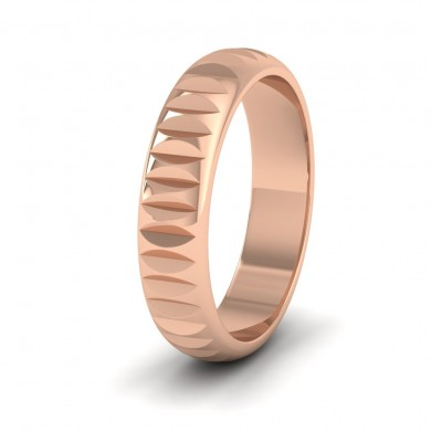 Cut Leaf Across Pattern 9ct Rose Gold 5mm Wedding Ring