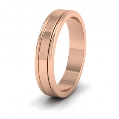 Rounded Edge Grooved Pattern Flat 9ct Rose Gold 4mm Flat Wedding Ring