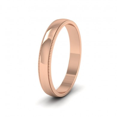 Millgrained Edge 18ct Rose Gold 3mm Wedding Ring