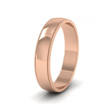Millgrained Edge 18ct Rose Gold 4mm Wedding Ring