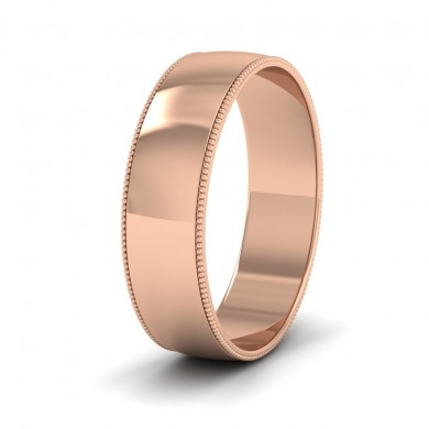 Millgrained Edge 18ct Rose Gold 6mm Wedding Ring