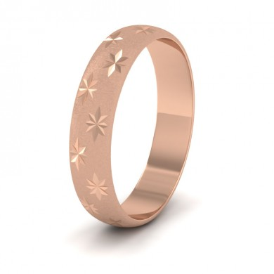 Star Patterned 18ct Rose Gold 4mm Wedding Ring