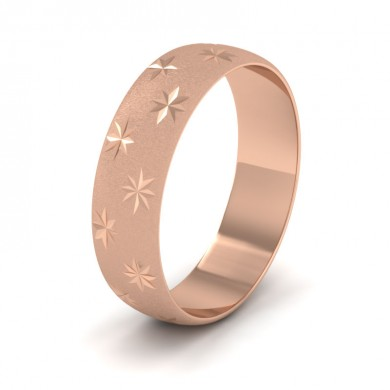 Star Patterned 18ct Rose Gold 6mm Wedding Ring