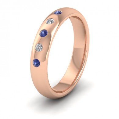 Blue Sapphire And Diamond Flush Set 18ct Rose Gold 4mm Wedding Ring