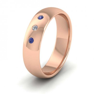 Blue Sapphire And Diamond Set 18ct Rose Gold 6mm Wedding Ring