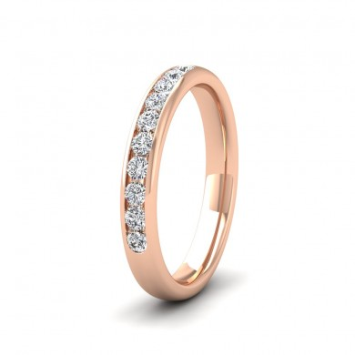 Ten Stone 0.3ct Channel Set Diamond 18ct Rose Gold 3mm Ring