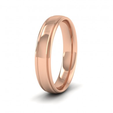 Edge Line Patterned 18ct Rose Gold 4mm Wedding Ring