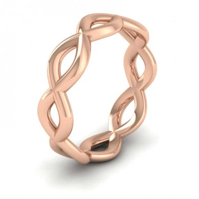 Double Twist 18ct Rose Gold 6mm Wedding Ring