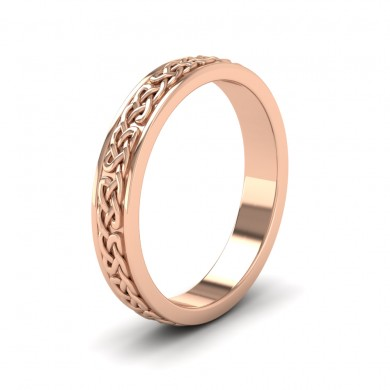Celtic Pattern With Edge Flat 9ct Rose Gold 4mm Wedding Ring
