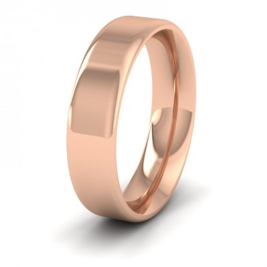 Rounded Edge 18ct Rose Gold 5mm Wedding Ring