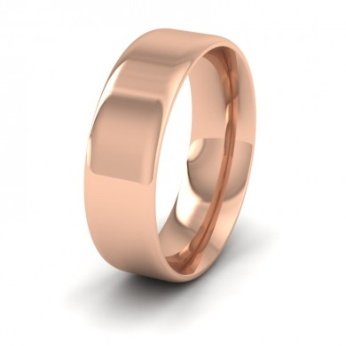 Rounded Edge 18ct Rose Gold 7mm Wedding Ring