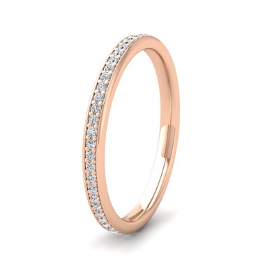 Full Bead Set 0.26ct Round Brilliant Cut Diamond 18ct Rose Gold 2mm Ring
