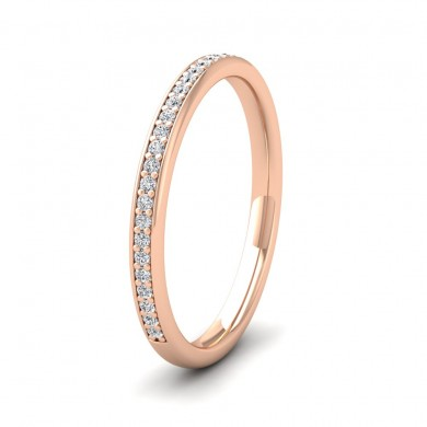 Half Bead Set 0.13ct Round Brilliant Cut Diamond 18ct Rose Gold 2mm Wedding Ring